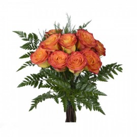 Orange roses by the dozen